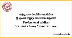 Professional soldiers - Sri Lanka Army Volunteer Force Vacancies 2020