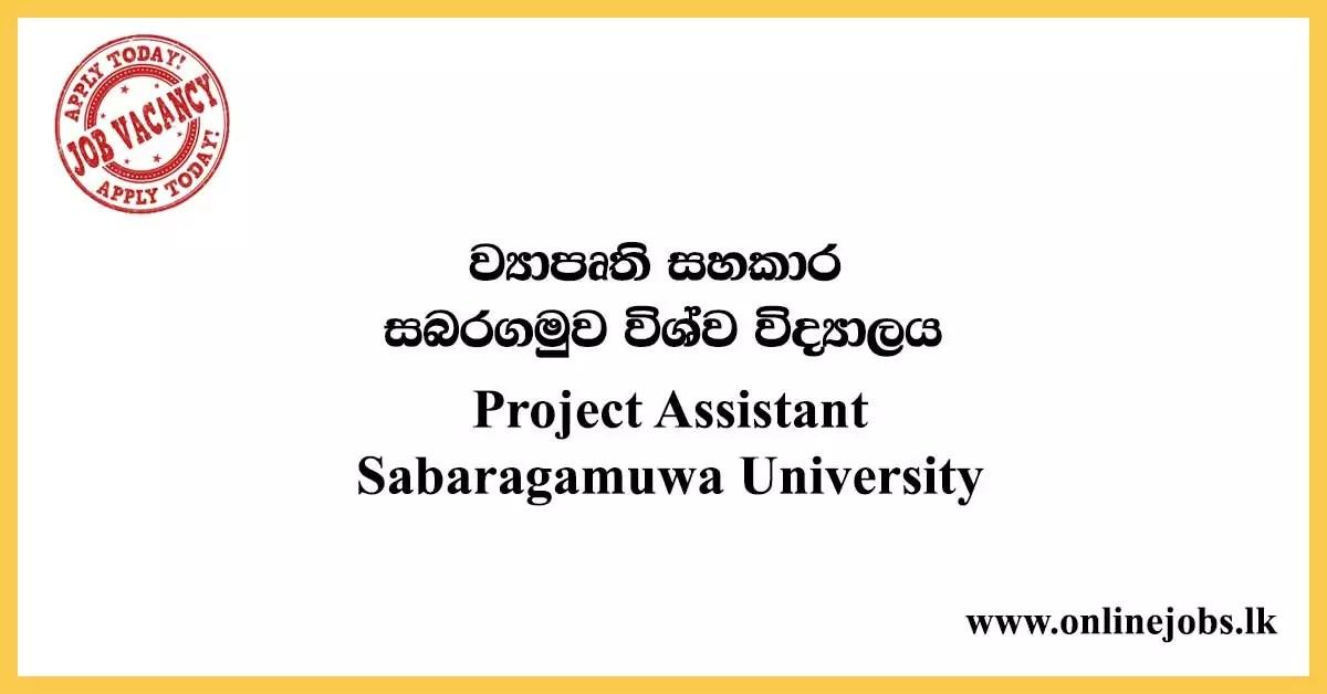 Project Assistant - Sabaragamuwa University
