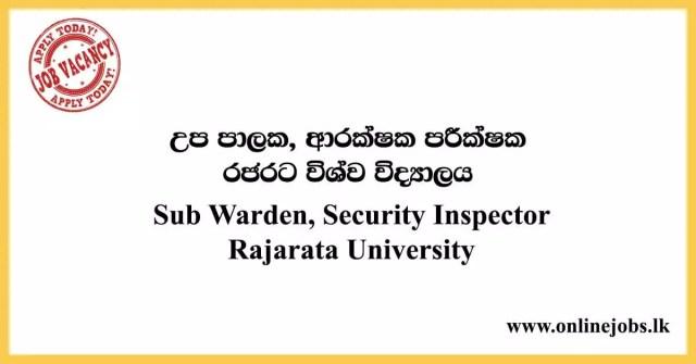 Sub Warden, Security Inspector Vacancies