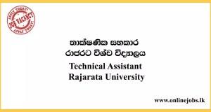 Technical Assistant - Rajarata University Job Vacancies