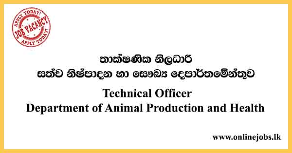 Technical Officer Department of Animal Production and Health