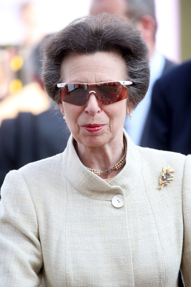 Princess Anne at the Royal Wedding with her Adidas sunglasses.
