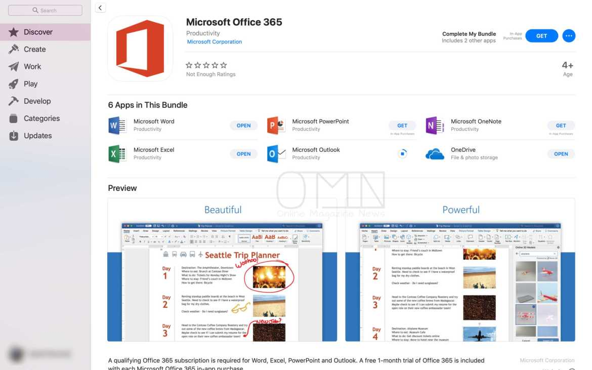 Microsoft Office on Mac App Store