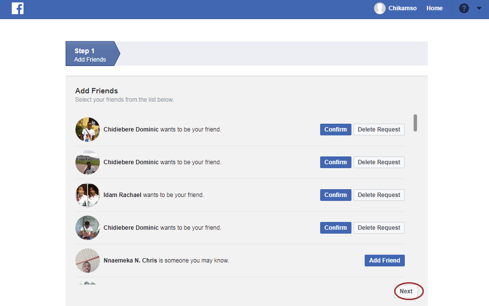 Facebook Add Friend Confirmation Page