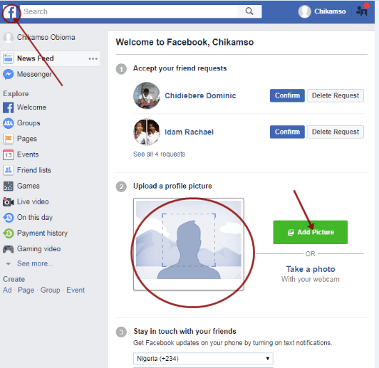 New Facebook Account Profile Completion