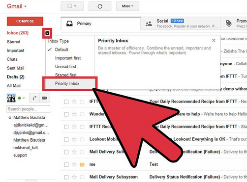 The Priority Inbox of the Gmail Page