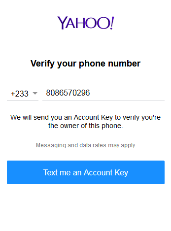 Yahoo Number Verification Page