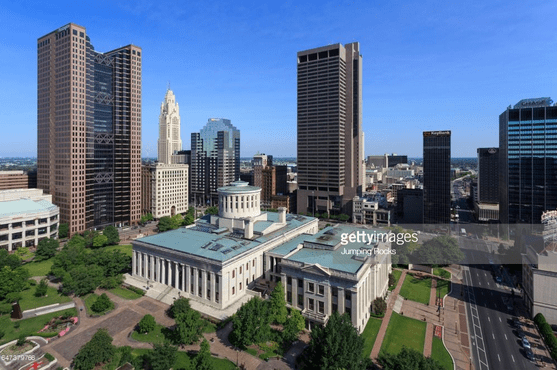 Aerial of Capital Building, Downtown, Columbus.