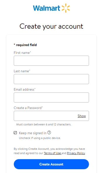 Walmart New Account Registration page 1