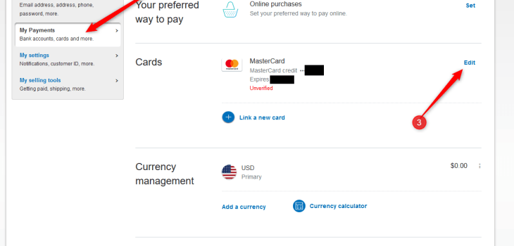 Image of Linking Card in PayPal