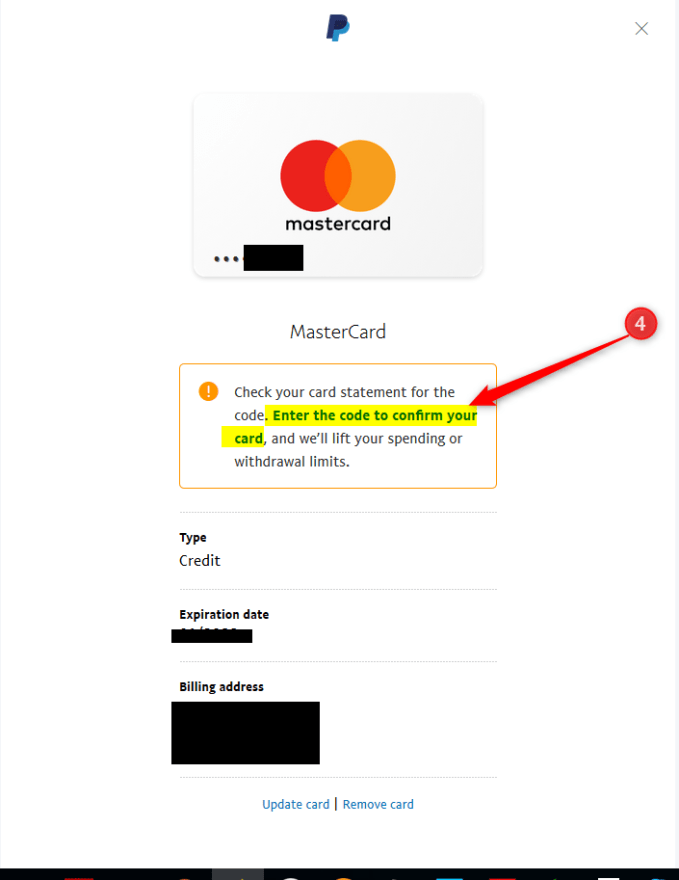 Link to verify card on paypal