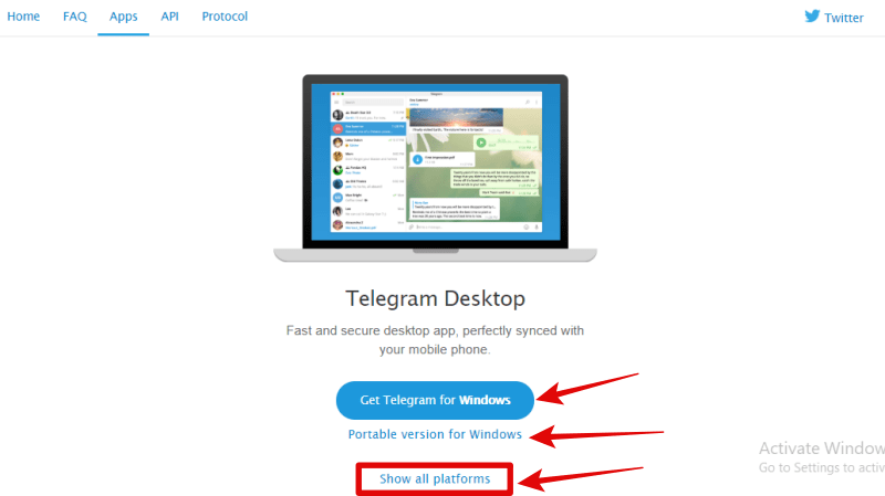 Telegram desktop app download image
