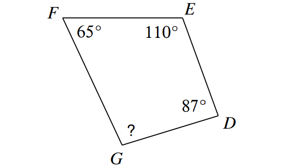 Find missing angles in triangles and quadrilaterals worksheet