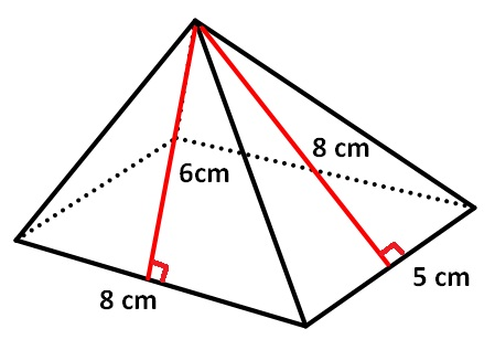 Surface area of pyramid with rectangular base