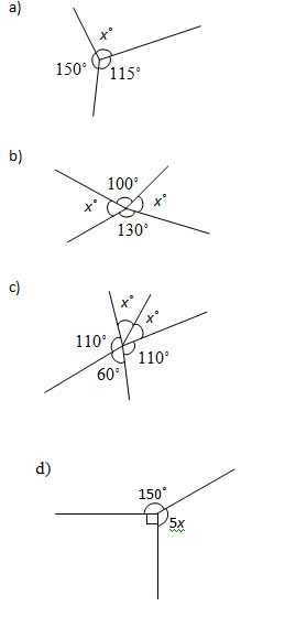 Angles at a Point Worksheets and Solutions