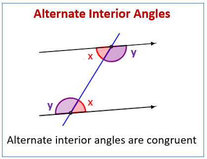 Alternate Interior Angles examples solutions videos