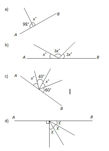 Angles in a Straight Line Worksheets, Solutions, Examples