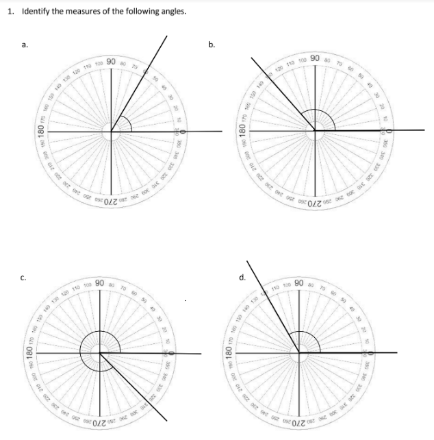 Using a Circular Protractor (examples, solutions, homework