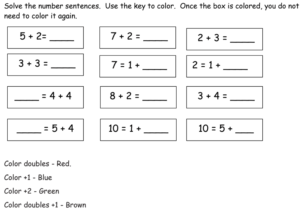 Fluency with Facts to 10 (examples, solutions, videos