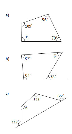 Angles in a Quadrilateral (Worksheets and Solutions)