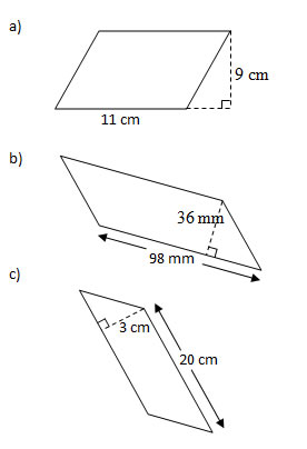 Area of Parallelograms (Worksheets and Solutions)