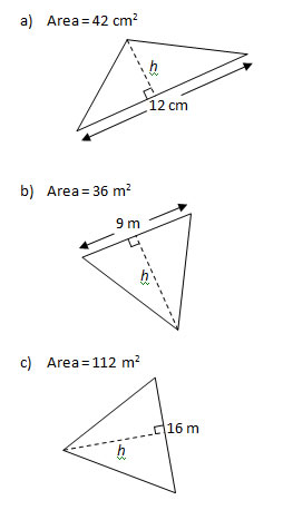 Triangle Problems Worksheet and solutions: Base, Height & Area