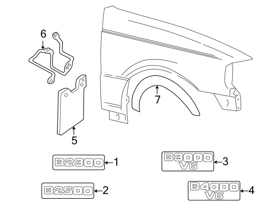 2003 Mazda Mud Flap Kit (Front). 4WD. Set, w/wheel opng