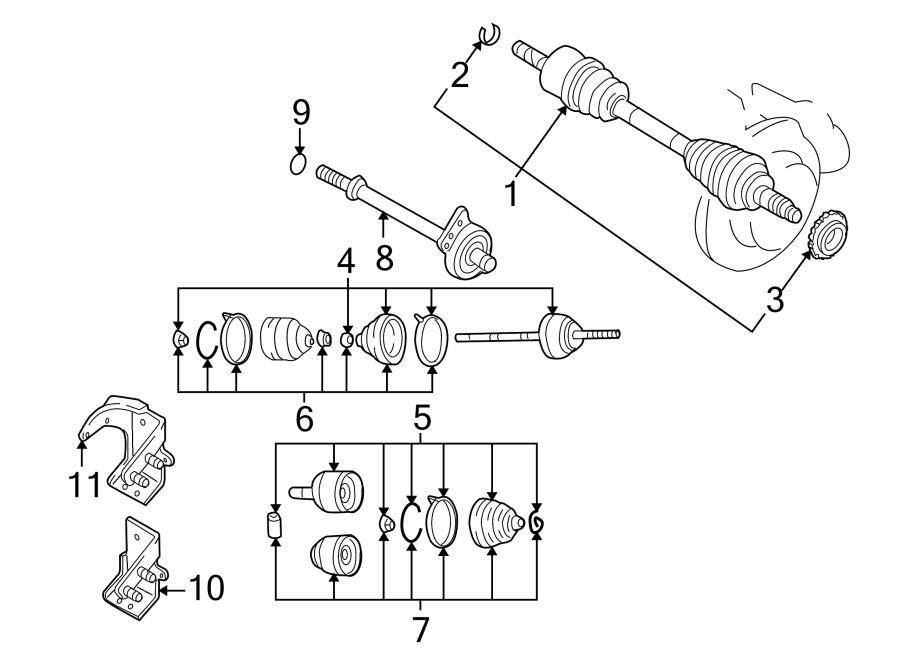 Mazda Tribute Cv axle support bearing bracket. 2.3 & 2.5