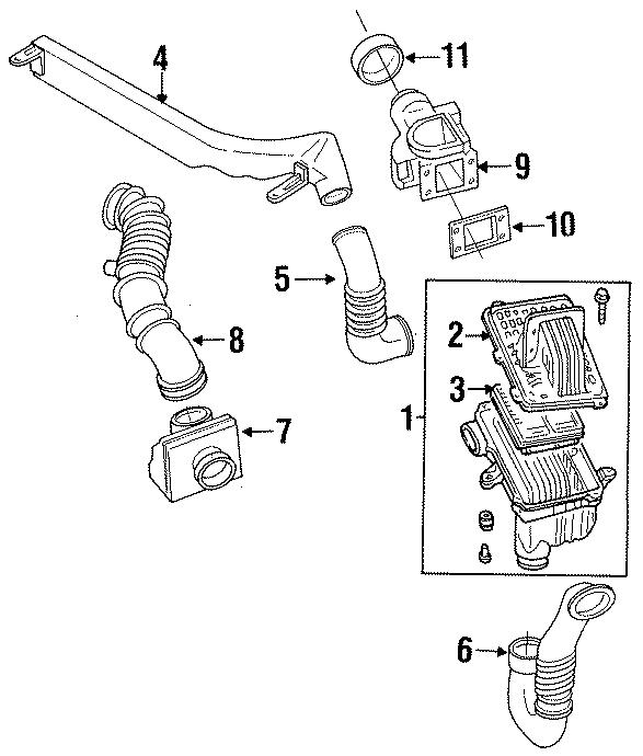 1994 Mazda Protege Mass Air Flow Sensor. Mass Air Flow