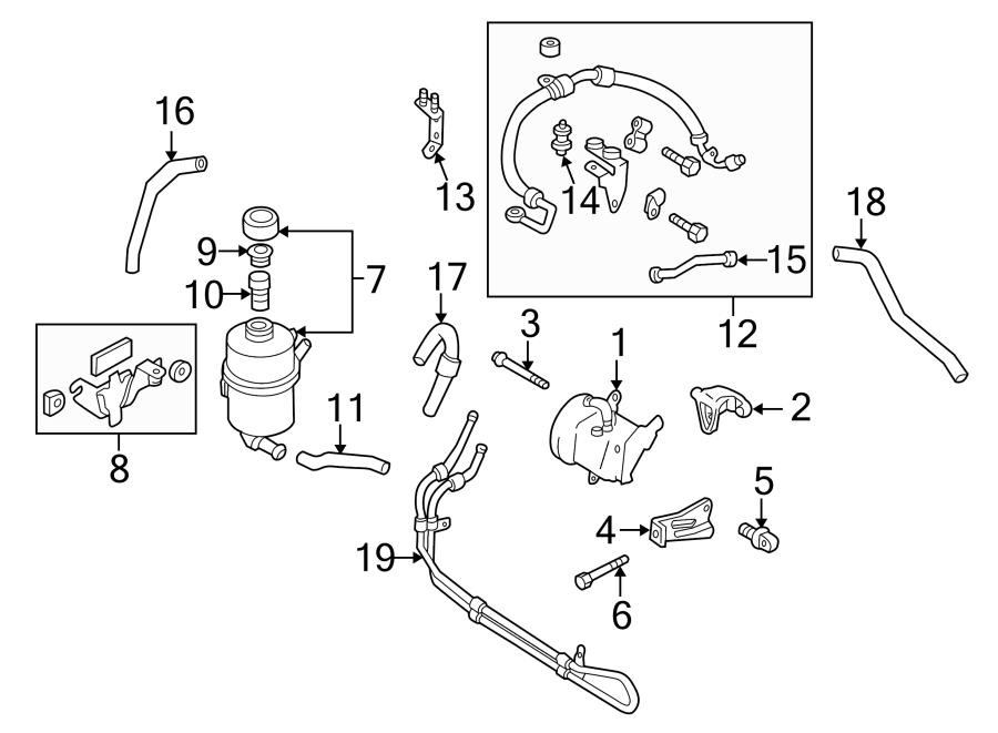 2003 Mazda Power Steering Pump Bracket. LITER, Adjust