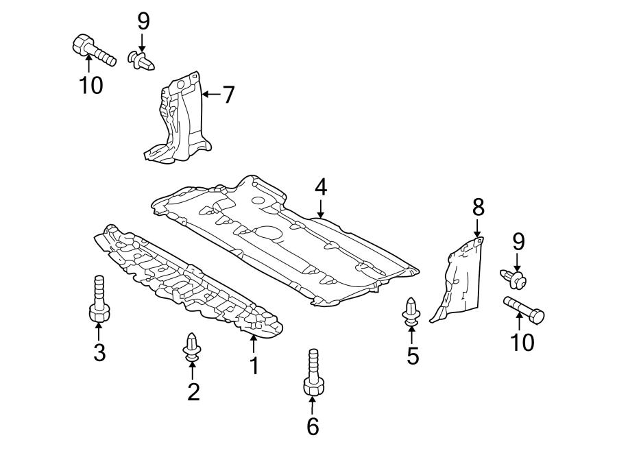 Mazda 3 Radiator Support Splash Shield Bolt (Lower). Under