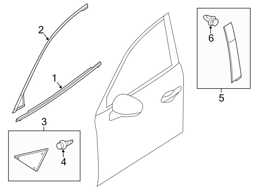 Mazda 3 Door Reveal Molding (Front, Rear, Upper). Mexico