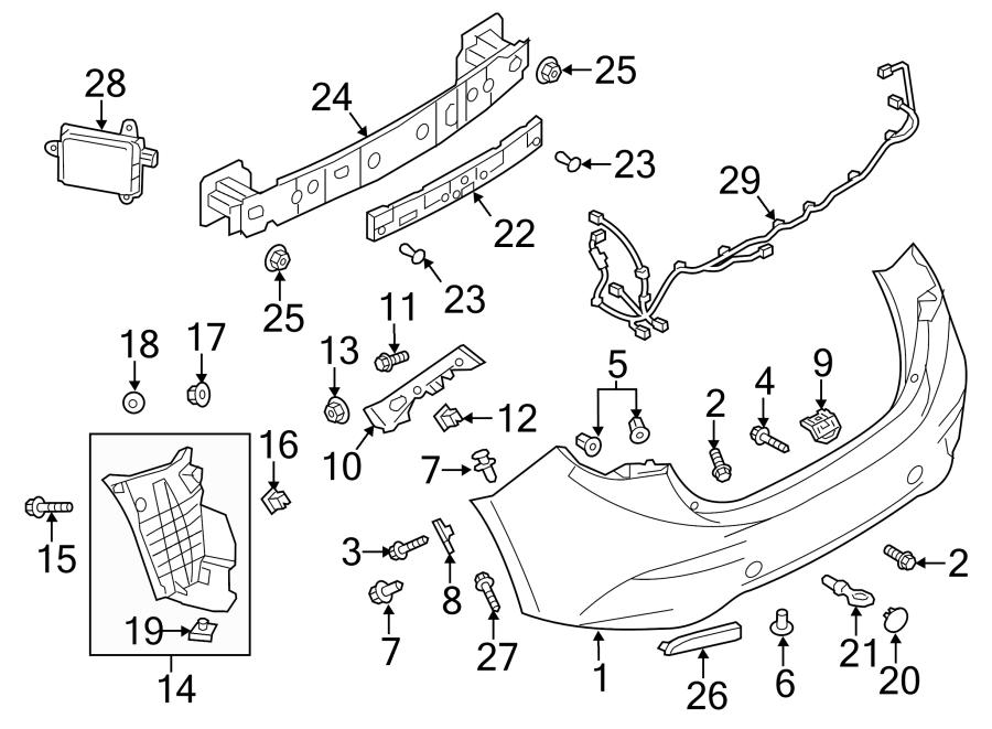 2014 Mazda 3 Bumper Cover (Rear). SEDAN, COMPONENTS, Body
