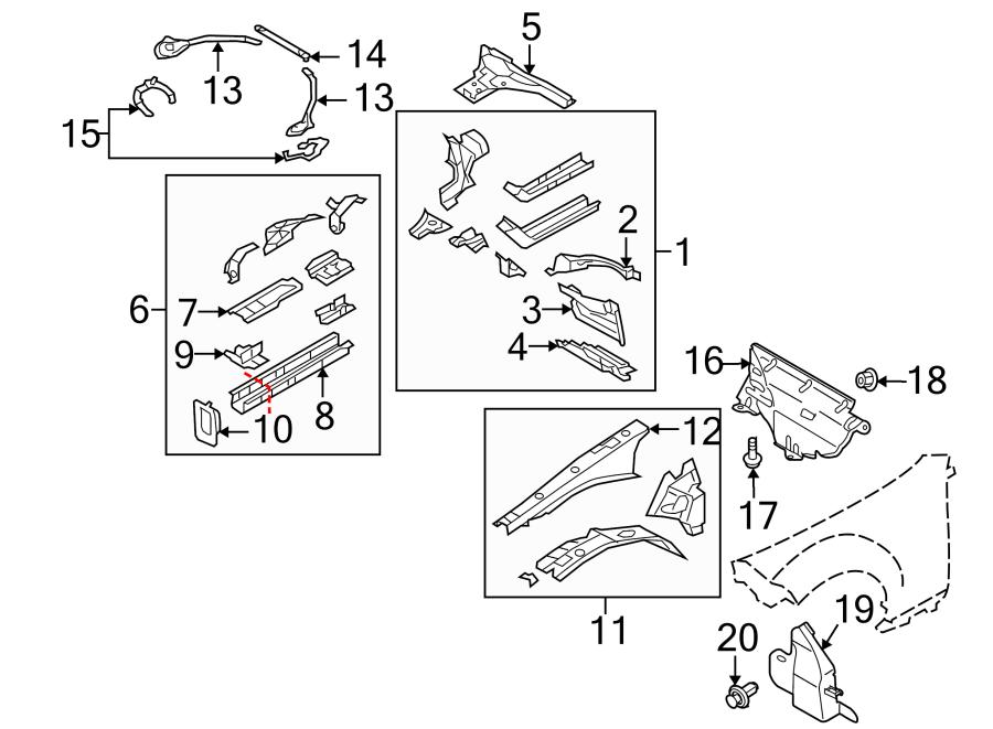 Mazda MX-5 Miata Fender Apron Assembly (Right, Upper