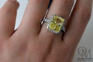 Tru Diamonds Yellow Champagne 4.7ct Platinum Ring