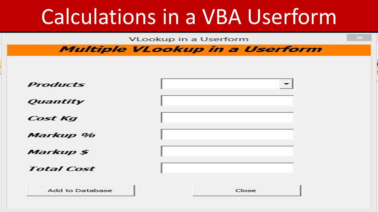 Excel VBA Calculations in a Userform  Online PC Learning