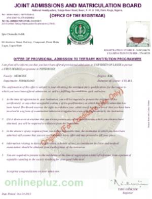 Original JAMB Admission Letter