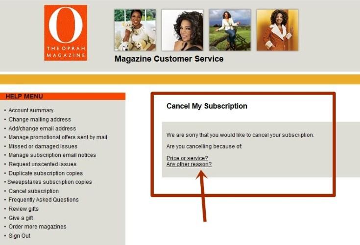 Cancel Oprah Magazine Subscription