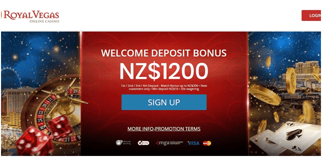 Royal Vegas casino NZ$1200 bonus offer