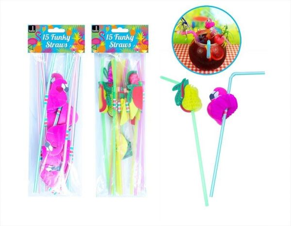 Funky Straws Pack of 30 Cocktail Party Flamingo Fruit Drink Stripe Summer Flexi