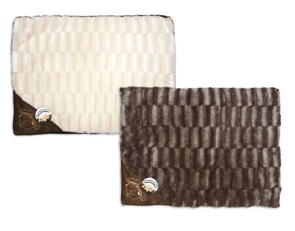 Faux Fur Pet Bed Leather Motif Dog Cushion Cosy Comfortable Cream Brown