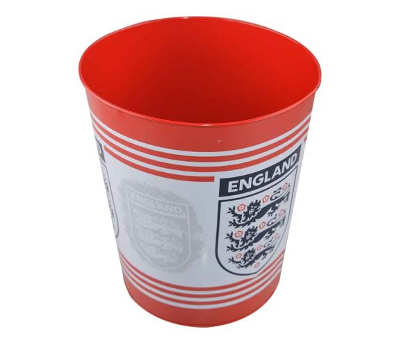 Metal Bin England Office Home Bedroom Kids Red White Official Football Waste