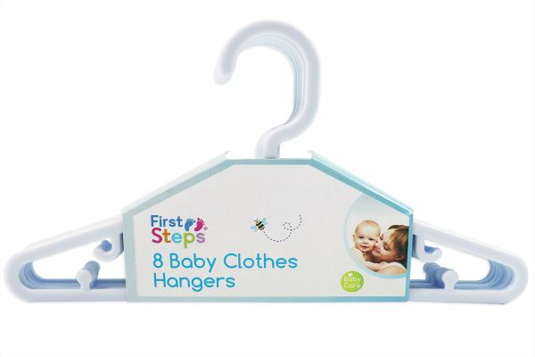 Pack of 8 Plastic Baby Clothes Hangers -White
