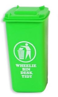 Desk Tidy Wheelie Bin Space Saver Storage Office School Pen Holder Green