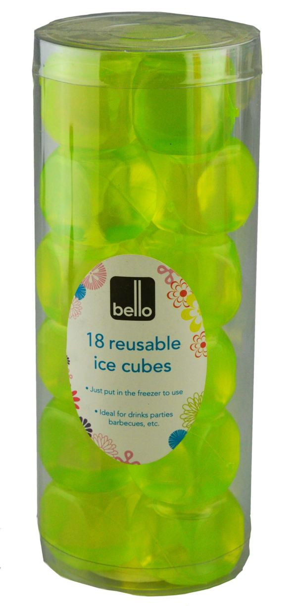 'Bello' Pack of 18 Reusable Ice Cubes Great For Keeping Cold Beverages Cool