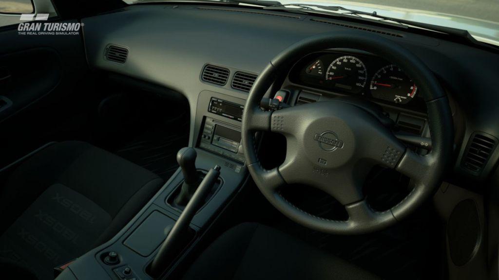 The interior of the 1996 Nissan 180SX in Gran Turismo Sport