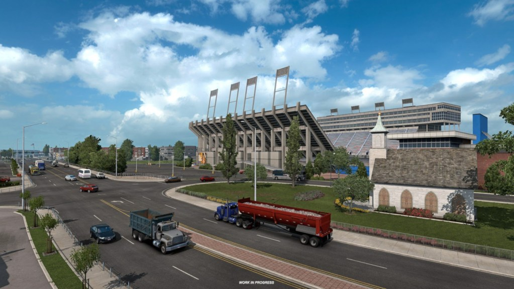 We can only assume that's Albertsons Stadium in Boise recreated in American Truck Simulator