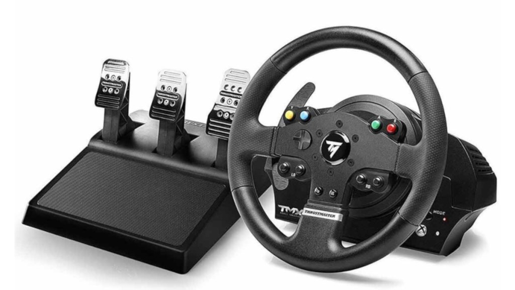 The Thrustmaster TMX Pro with three pedals