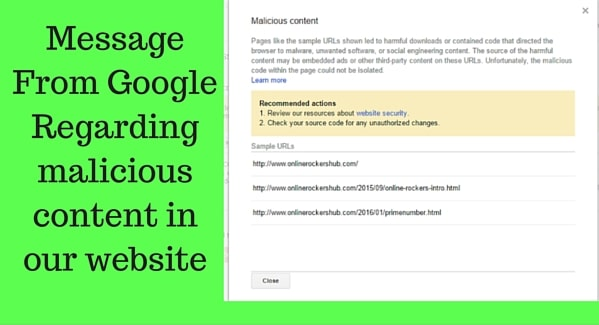 Google mail at Webmaster tools regarding security issues