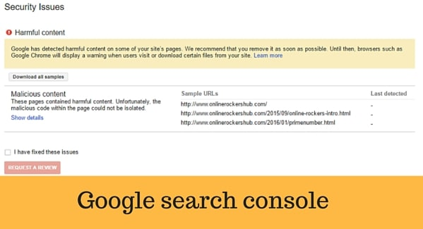 Malicious content at Google Search Console